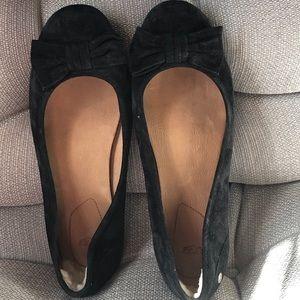 UGG Black Suede Ballet Flats